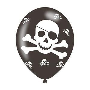 6pk Pirate Party Latex Balloon Birthday Party Decoration Skull and Cross Bones
