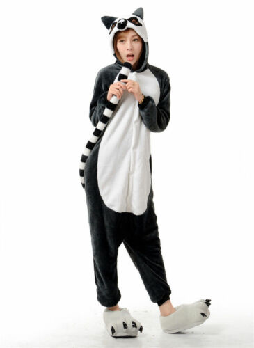 Animale Coda Lemure Onesiee Kigurumi Costume Felpa con Cappuccio Pigiama Pigiama