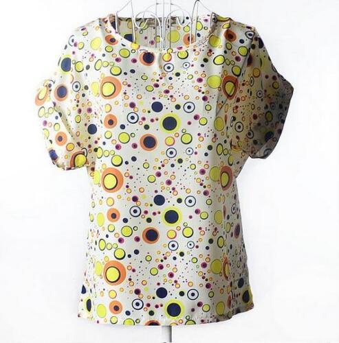 Women Sleeve Flounce Flouncy Chiffon Blouse Tops Batwing Plus Shirt O Round Neck