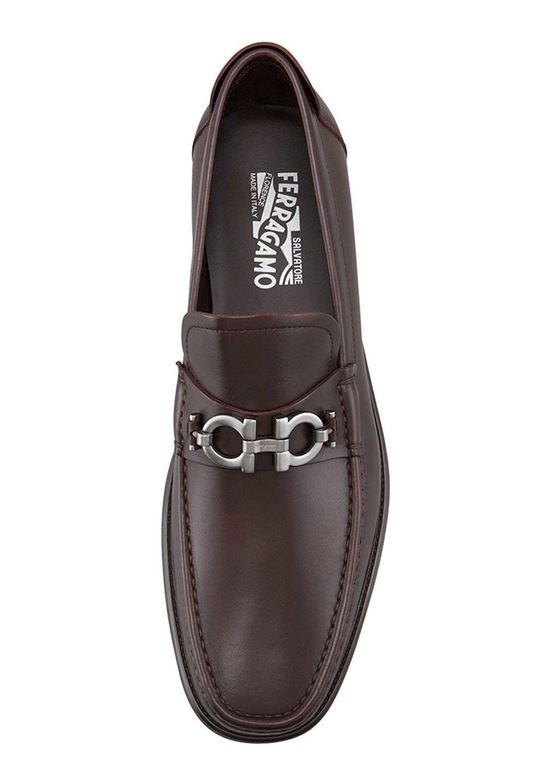 Salvatore Ferragamo Master Gancini Brown Leather Slip-On Loafers Size 6