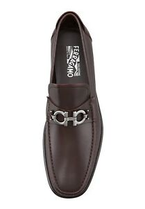 Salvatore-Ferragamo-Master-Gancini-Brown-Leather-Slip-On-Loafers-Size-6