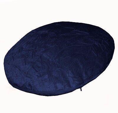 mo89n Navy Blue Plain Shimmer Velvet Style Round Shape Cushion Cover Custom Size