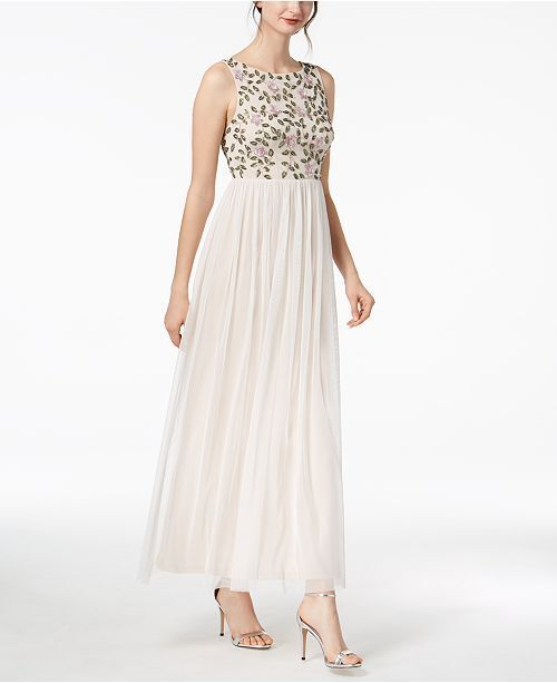 289 ADRIANNA PAPELL WOMEN'S WHITE FLORAL-BEADED GOWN PETITE DRESS SIZE 2P