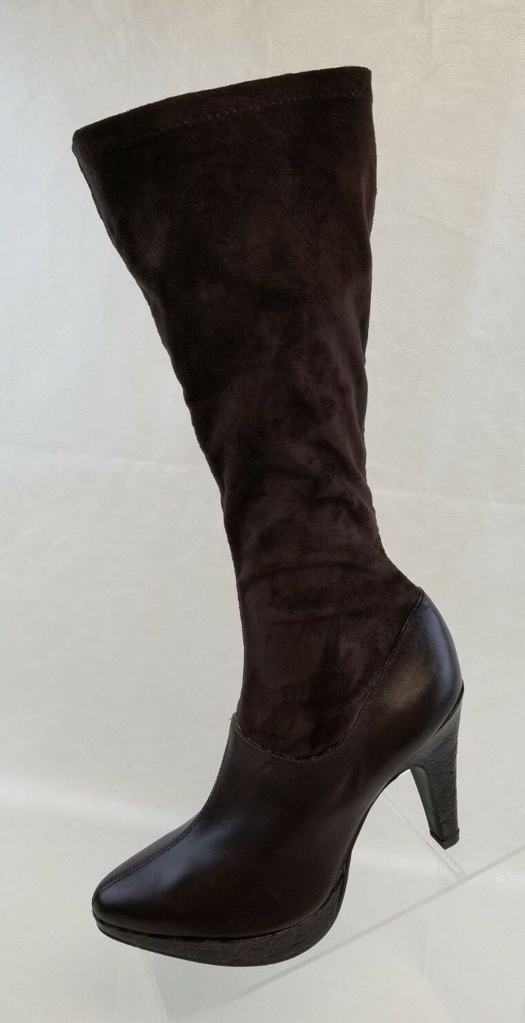 Gianni Bini Womens Knee High Stretch Heel Boots Brown Leather Microsuede Pull On