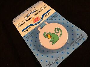 Heinz-Dummy-Pacifier-Holder-New-in-packaging-Monkey-Design-Blue-Ribbon