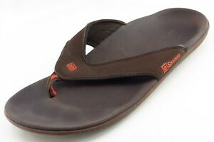 Spenco-Size-12-M-Brown-Flip-Flop-Leather-Men-Shoes