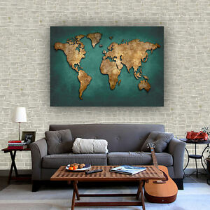 Details about Abstract Fabric Canvas Poster Vintage Art Draw World Map Bar  Cafe Wall Decor S18