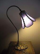 Beautiful Vintage Antique Lavender Slag Glass Goose Neck Student Desk Lamp Roses