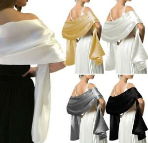 Soft-Satin-Bridal-Bridesmaid-Shawl-Scarf-Wedding-Prom-Stole-Wrap-Bolero-Women