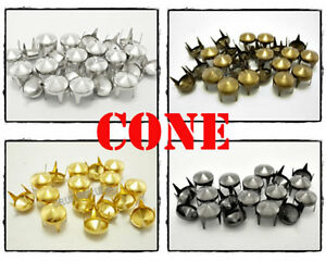100pcs-9mm-Cone-Conical-Studs-SPOTS-NAILHEADS-Leathercraft-Decoration-S246