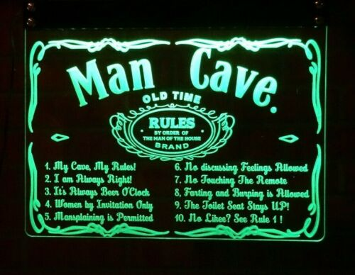 Man Cave Rules A3 Own Name Personalized Neon LED light Bar Sign UK Made