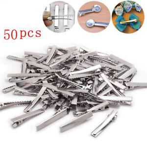 50Pcs-45mm-Flat-Metal-Single-Prong-Crocodile-Alligator-Hair-Clips-DIY-Craft-Bows