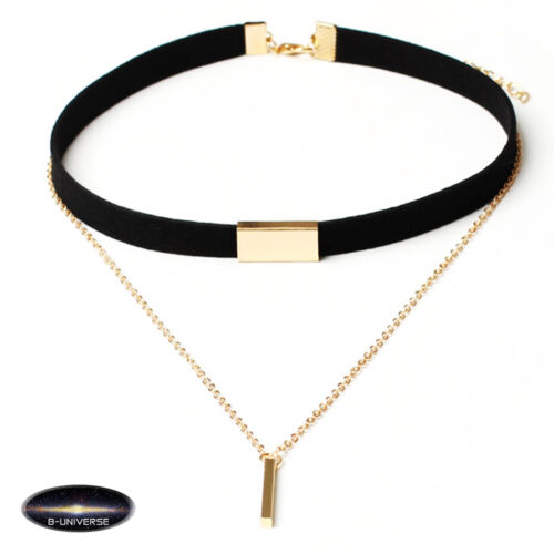 Golden black European Women Black Choker Necklace With Gold pendant stylish