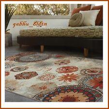 Indoor Outdoor Rug Area Carpet Patio Furniture Orange Teal Flower 5 x 8 Mat Pad