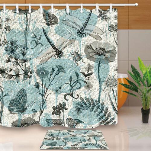 Butterflies Dragonflies Beetles Plants Fabric Bathroom Shower Curtain With Hooks