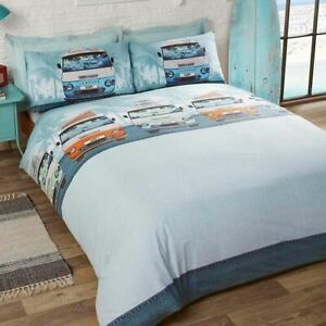 RETRO-CAMPERVANS-PALM-TREES-ORANGE-COTTON-BLEND-SINGLE-DUVET-COVER