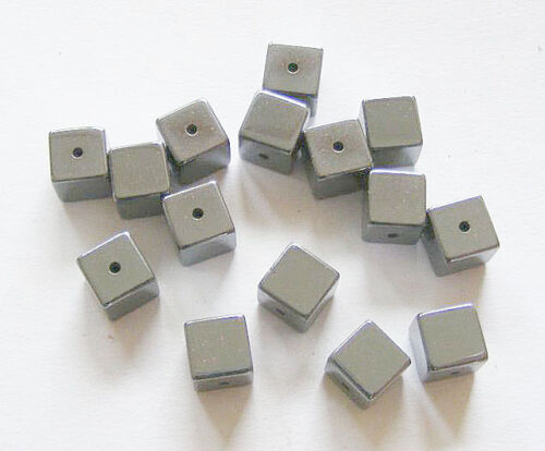 Non Magnetic 6mm 25 Cube Shape Hematite Beads