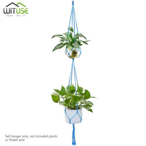 Single//Dual Layer Plant Pot Hanger Handmade Cotton Rope Rural Hanging Planter C