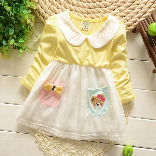Newborn Baby Girl 100/% Cotton Cute Fashion Clothing Infant Toddler Pocket Dress