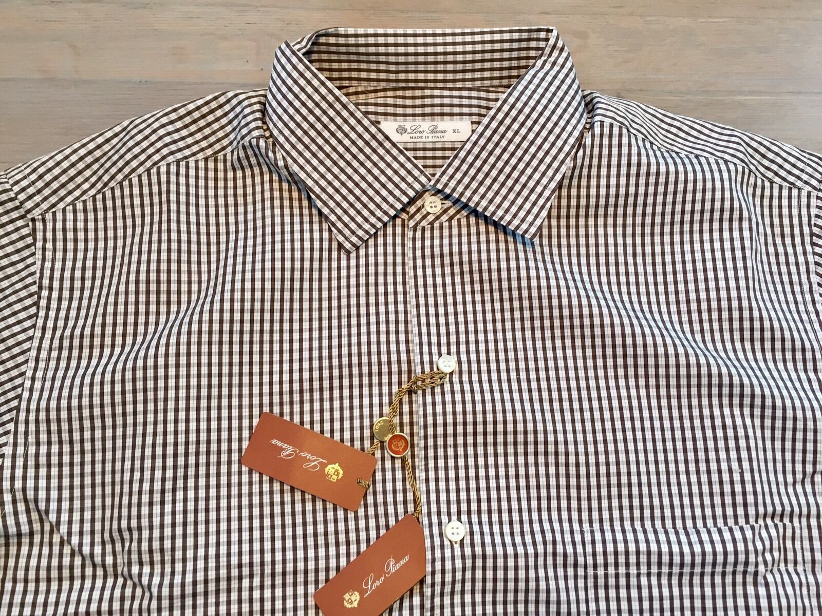 495  Lgold Piana Brown Plaid Long Sleeve Cotton Shirt Size XL Made in