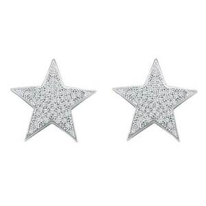 Ladies-10k-White-Gold-0-25CT-Pave-Diamond-Star-Fashion-Earrings