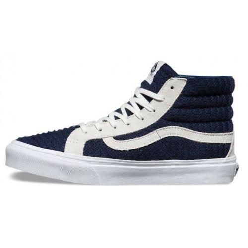 VANS Blau/True Suede/Woven Navy Blau/True VANS Weiß Schuhes Sk8-Hi Slim WOMEN'S Größe 5 155c5a