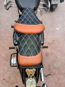Groovy Details About Royal Enfield Classic 350 500 Split Seat Cover Black Brown With White Diamond Spiritservingveterans Wood Chair Design Ideas Spiritservingveteransorg