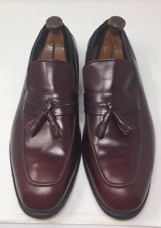 Allen Edmonds Biscayne burgundy Oxblood Leather Preppy Tassel Loafers Talla 14EEE