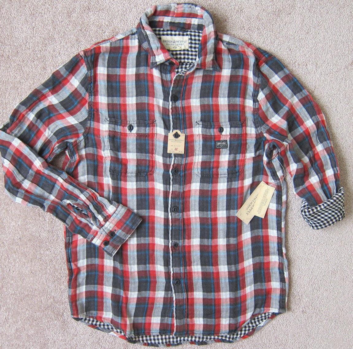 RALPH LAUREN  (Red   Volstead) PREMIUM Ward Plaid Shirt Men's   -  NWT