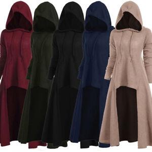 Womens Fashion Hooded Plus Size Vintage Cloak High Low Dress Blouse Tops