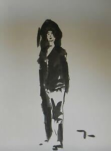 JOSE-TRUJILLO-ABSTRACT-EXPRESSIONISM-INK-WASH-Fashion-Portrait-Figure-ART-9x12