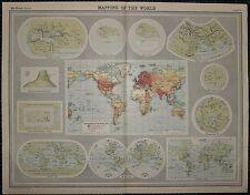 1921 LARGE MAP ~ THE WORLD CARTOGRPAHY WHEEL MAP 11th CENTURY PTOLEMY ORTELIUS
