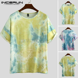 Summer-Mens-Tie-Dye-T-Shirt-Music-Festival-Hipster-Indie-Retro-Causal-Blouse-Tee