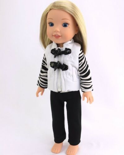 """Doll Clothes 14.5/"""" Pants Black Vest Top Zebra Fit 14.5/"""" AG Wellie Wishers Doll"""