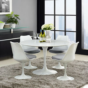Details About Mid Century Modern 47 Round White Wood Top Metal Pedestal Dining Table