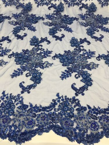 Lace Fabric By The Yard R Blue 3D Flower Beaded With Precious Crystal Sequins