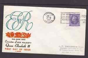 Canada 1953 FDC 1st day cover to the USA QE II coronation Uncertain cachet