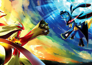 Details Zu Pokemon Poster Pokemon Go Lucario Vs Brasegali Cool Free Pp Choose Your Size