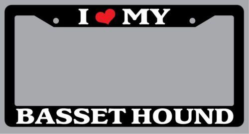 "Black License Plate Frame /""I Heart My Basset Hound/"" Auto Accessory Novelty 267"