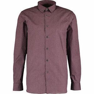 Ted-baker-para-hombres-camisa-de-punto-de-impresion-Burdeos-Tamanos-3-4-M-L