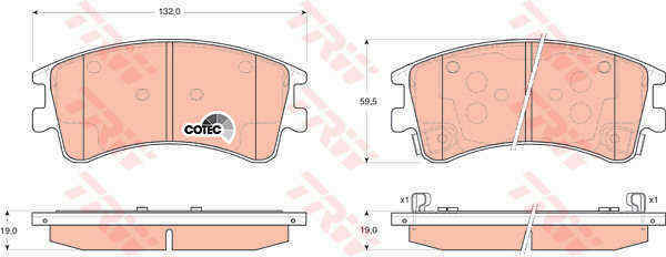 TRW Set Almohadillas Freno Delantero Gdb3310 - Nuevo -Original-