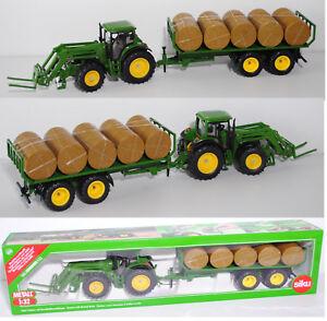 Landwirtschaft Siku 3862 John Deere Traktor mit Rundballenanhänger 1:32