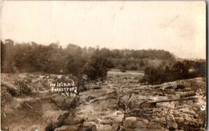 S21-1861-RPPC-Vintage-Beach-Postcard-Forestport-NY-The-Island-1910