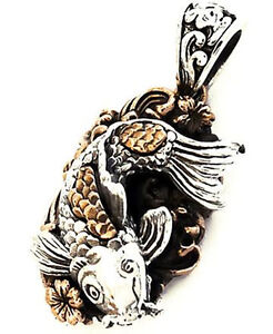 Japanese koi carp lucky fish flower sterling 925 silver pendant ebay image is loading japanese koi carp lucky fish flower sterling 925 aloadofball Image collections