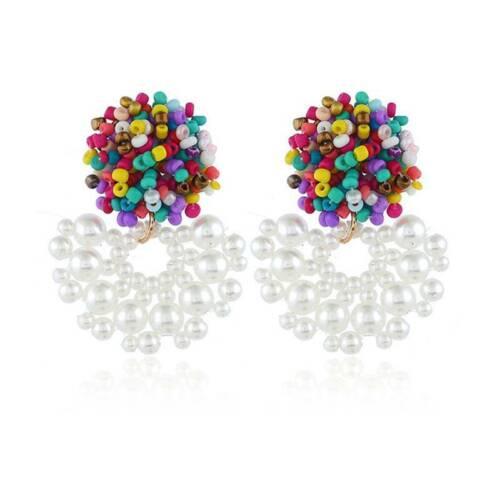 Summer  Womens Earrings Round Ear Stud Studs Crystal Dangle Drop Jewelry T3