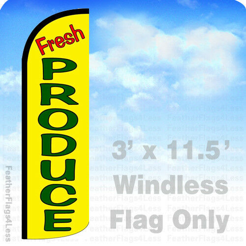 Windless Swooper Flag Feather Banner Sign 3/'x11.5/' yq FRESH PRODUCE