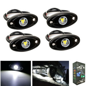 4x White Led Rock Lights Replacement For Truck Undercarriage Dock Lamp ATV SUV