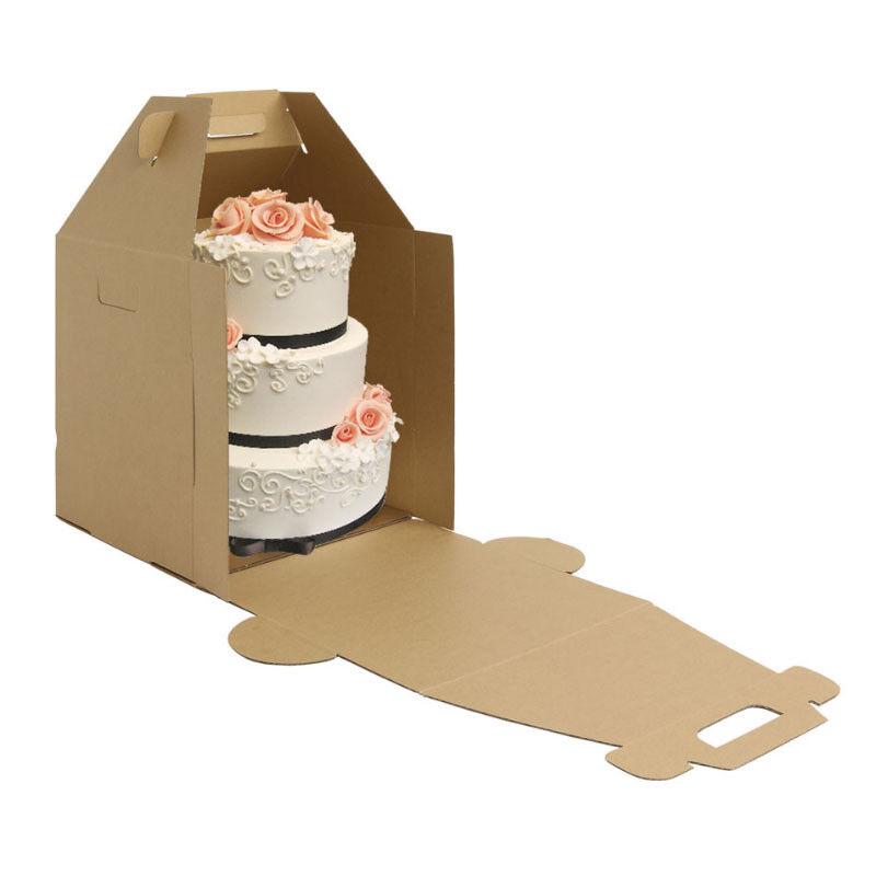 Alto Kraft Pastel carrir Caja Paquete de 3