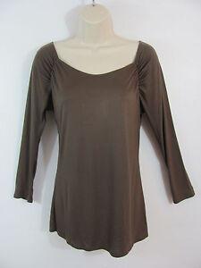 Banana-Republic-Womens-Blouse-Shirt-Top-Sz-M-Brown-Long-Sleeve-Rayon-Square-Neck