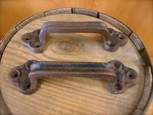 "2 LARGE BROWN 9"" DOOR GATE HANDLES PULLS RUSTIC ANTIQUE-STYLE CAST IRON drawer"